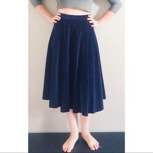 Vintage 70s Navy Velvet Full Skirt
